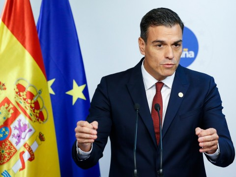 Spain's Prime minister Pedro Sanchez holds a news conference at the European Council summit in Brussels. Photo: EPA file