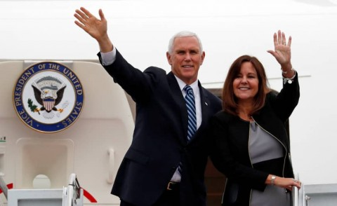 US Vice President Mike Pence and his wife Karen wave as they board Air Force Two at Yokota Air Base in Fussa, on the outskirts of Tokyo, on Tuesday. Photo: Reuters