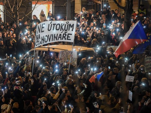 Thousands take to streets of Prague to protest President's 'attack on media'