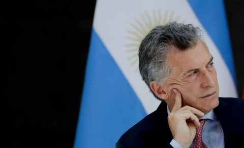 Argentine President Mauricio Macri attends a lunch at the government house Casa Rosada in Buenos Aires in March. Photo: AP