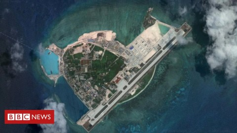 An HK-6K bomber is believed to have landed on Woody Island in the South China Sea. Photo: Google / Digital Globe