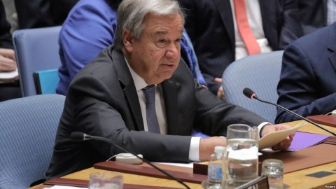 Secretary General of the United Nations Antonio Guterres addresses the Security Council at the United Nations Headquarters in New York, Aug. 29, 2018. Photo: Reuters
